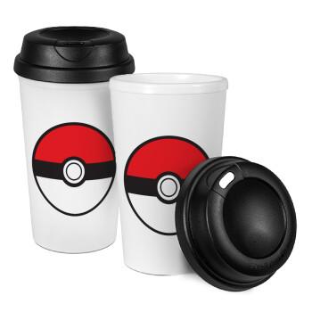 Pokemon ball, Κούπα ταξιδιού πλαστικό (BPA-FREE) με καπάκι βιδωτό, διπλού τοιχώματος (θερμό) 330ml (1 τεμάχιο)