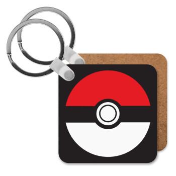 Pokemon ball, Μπρελόκ Ξύλινο τετράγωνο MDF 5cm (3mm πάχος)