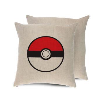 Pokemon ball, Μαξιλάρι καναπέ ΛΙΝΟ 40x40cm περιέχεται το γέμισμα