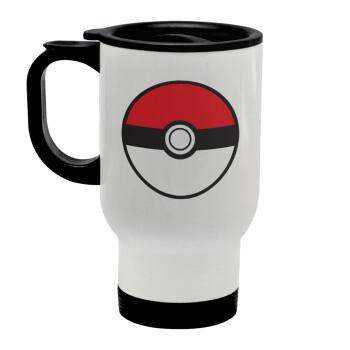 Pokemon ball, Κούπα ταξιδιού ανοξείδωτη με καπάκι, διπλού τοιχώματος (θερμό) λευκή 450ml