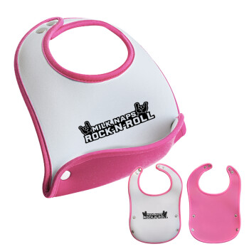 Milk, Naps, Rock N Roll, Σαλιάρα μωρού Ροζ κοριτσάκι, 100% Neoprene (18x19cm)