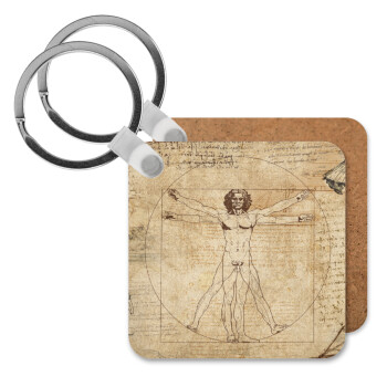 Leonardo da vinci Vitruvian Man, Μπρελόκ Ξύλινο τετράγωνο MDF 5cm (3mm πάχος)