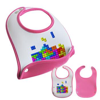Tetris blocks, Σαλιάρα μωρού Ροζ κοριτσάκι, 100% Neoprene (18x19cm)