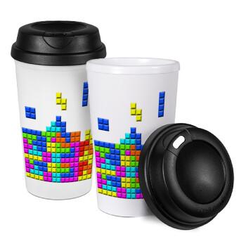 Tetris blocks, Κούπα ταξιδιού πλαστικό (BPA-FREE) με καπάκι βιδωτό, διπλού τοιχώματος (θερμό) 330ml (1 τεμάχιο)