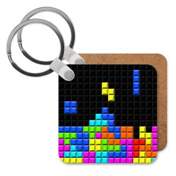 Tetris blocks, Μπρελόκ Ξύλινο τετράγωνο MDF 5cm (3mm πάχος)