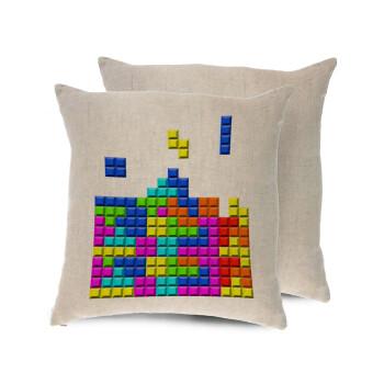 Tetris blocks, Μαξιλάρι καναπέ ΛΙΝΟ 40x40cm περιέχεται το γέμισμα