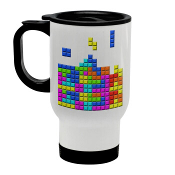 Tetris blocks, Κούπα ταξιδιού ανοξείδωτη με καπάκι, διπλού τοιχώματος (θερμό) λευκή 450ml