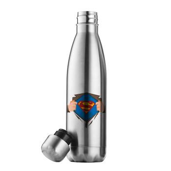 Superman hands, Μεταλλικό παγούρι θερμός Inox (Stainless steel 304), διπλού τοιχώματος, 500ml