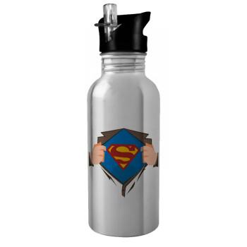 Superman hands, Stainless steel παγούρι ποδηλάτου ασημένιο με καλαμάκι (Stainless steel) 600ml