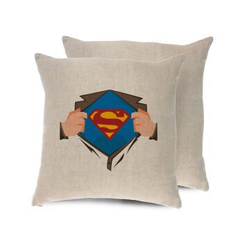Superman hands, Μαξιλάρι καναπέ ΛΙΝΟ 40x40cm περιέχεται το γέμισμα