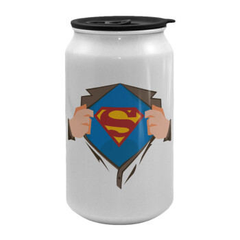 Superman hands, Κούπα ταξιδιού μεταλλική με καπάκι (tin-can) 500ml