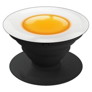Τηγανητό αυγό, Pop Socket Μαύρο Βάση Στήριξης Κινητού στο Χέρι