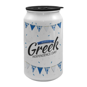 Happy GREEK Independence day, Κούπα ταξιδιού μεταλλική με καπάκι (tin-can) 500ml