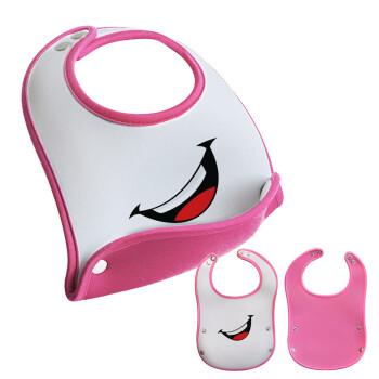Φατσούλα γελάω!!!, Σαλιάρα μωρού Ροζ κοριτσάκι, 100% Neoprene (18x19cm)