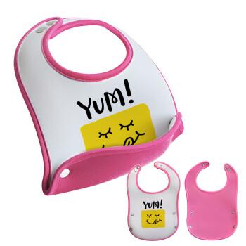 Yum!!!, Σαλιάρα μωρού Ροζ κοριτσάκι, 100% Neoprene (18x19cm)