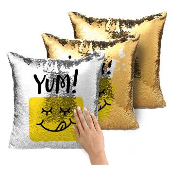 Yum!!!, Μαξιλάρι καναπέ Μαγικό Χρυσό με πούλιες 40x40cm περιέχεται το γέμισμα