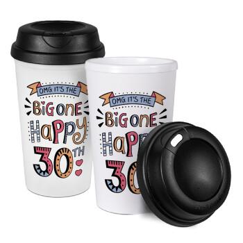 Big one Happy 30th, Κούπα ταξιδιού πλαστικό (BPA-FREE) με καπάκι βιδωτό, διπλού τοιχώματος (θερμό) 330ml (1 τεμάχιο)