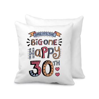Big one Happy 30th, Μαξιλάρι καναπέ 40x40cm περιέχεται το γέμισμα