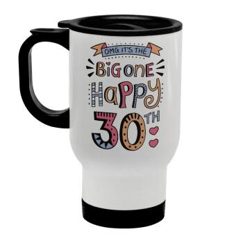 Big one Happy 30th, Κούπα ταξιδιού ανοξείδωτη με καπάκι, διπλού τοιχώματος (θερμό) λευκή 450ml