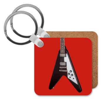 Guitar flying V, Μπρελόκ Ξύλινο τετράγωνο MDF 5cm (3mm πάχος)