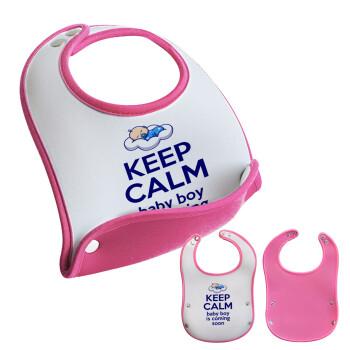 KEEP CALM baby boy is coming soon!!!, Σαλιάρα μωρού Ροζ κοριτσάκι, 100% Neoprene (18x19cm)