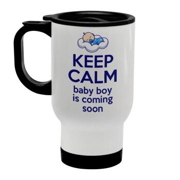 KEEP CALM baby boy is coming soon!!!, Κούπα ταξιδιού ανοξείδωτη με καπάκι, διπλού τοιχώματος (θερμό) λευκή 450ml