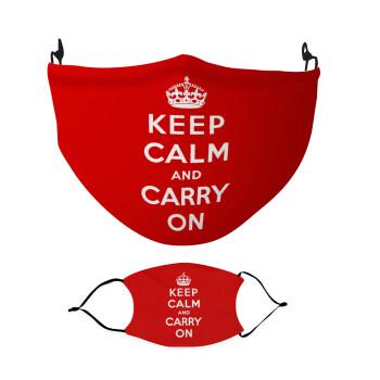 KEEP CALM and carry on, Μάσκα υφασμάτινη Ενηλίκων πολλαπλών στρώσεων με υποδοχή φίλτρου