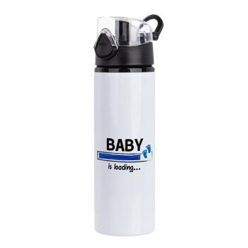 Baby is Loading BOY, Μεταλλικό παγούρι ποδηλάτου με καπάκι ασφαλείας μαύρο, 750ml