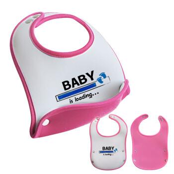 Baby is Loading BOY, Σαλιάρα μωρού Ροζ κοριτσάκι, 100% Neoprene (18x19cm)