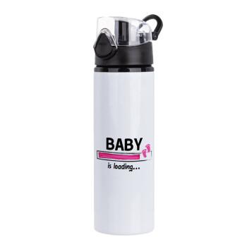 Baby is Loading GIRL, Μεταλλικό παγούρι ποδηλάτου με καπάκι ασφαλείας μαύρο, 750ml
