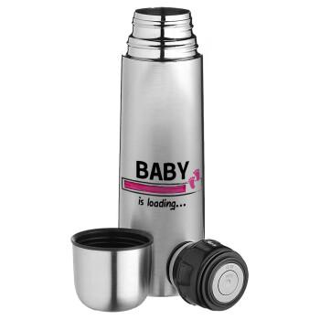 Baby is Loading GIRL, Ισοθερμικό παγουρί & θερμό camping από ανοξείδωτο ατσάλι, διπλού τοιχώματος, 750ml