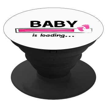 Baby is Loading GIRL, Pop Socket Μαύρο Βάση Στήριξης Κινητού στο Χέρι