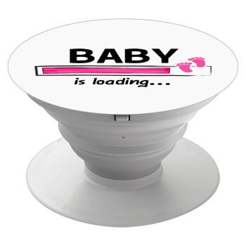 Baby is Loading GIRL, Pop Socket Λευκό Βάση Στήριξης Κινητού στο Χέρι