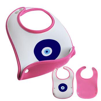 Χάντρα γαλαζιά, Σαλιάρα μωρού Ροζ κοριτσάκι, 100% Neoprene (18x19cm)