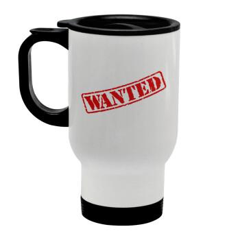 Wanted, Κούπα ταξιδιού ανοξείδωτη με καπάκι, διπλού τοιχώματος (θερμό) λευκή 450ml