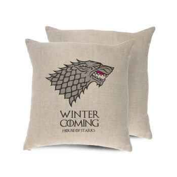 GOT House of Starks, winter coming, Μαξιλάρι καναπέ ΛΙΝΟ 40x40cm περιέχεται το γέμισμα