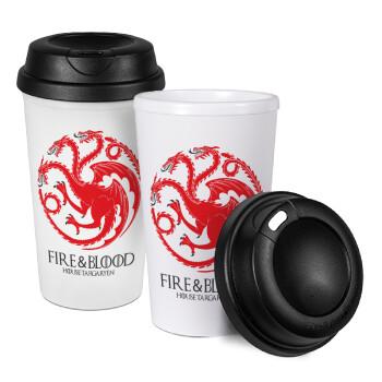 GOT House Targaryen, Fire Blood, Κούπα ταξιδιού πλαστικό (BPA-FREE) με καπάκι βιδωτό, διπλού τοιχώματος (θερμό) 330ml (1 τεμάχιο)