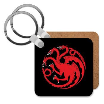 GOT House Targaryen, Fire Blood, Μπρελόκ Ξύλινο τετράγωνο MDF 5cm (3mm πάχος)
