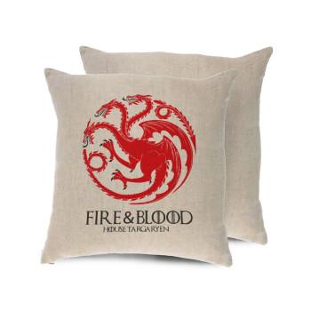 GOT House Targaryen, Fire Blood, Μαξιλάρι καναπέ ΛΙΝΟ 40x40cm περιέχεται το γέμισμα