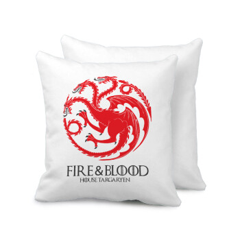 GOT House Targaryen, Fire Blood, Μαξιλάρι καναπέ 40x40cm περιέχεται το γέμισμα