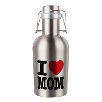 I LOVE MOM, Μεταλλικό παγούρι Inox (Stainless steel) με καπάκι ασφαλείας 1L