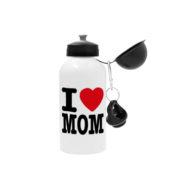 I LOVE MOM, Μεταλλικό παγούρι ποδηλάτου Λευκό 500ml