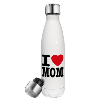 I LOVE MOM, Μεταλλικό παγούρι θερμός Λευκό (Stainless steel 304), διπλού τοιχώματος, 500ml