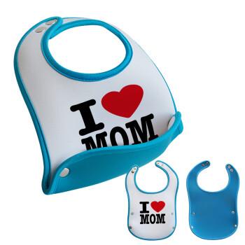I LOVE MOM, Σαλιάρα μωρού Μπλε αγοράκι, 100% Neoprene (18x19cm)