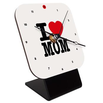 I LOVE MOM, Επιτραπέζιο ρολόι ξύλινο με δείκτες (10cm)