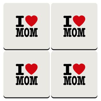 I LOVE MOM, ΣΕΤ 4 Σουβέρ ξύλινα τετράγωνα