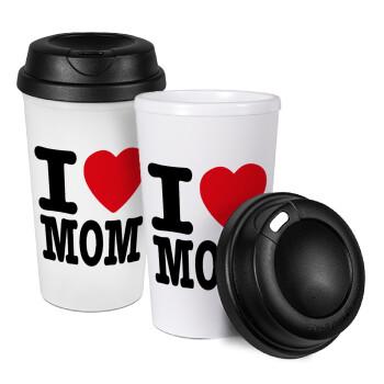 I LOVE MOM, Κούπα ταξιδιού πλαστικό (BPA-FREE) με καπάκι βιδωτό, διπλού τοιχώματος (θερμό) 330ml (1 τεμάχιο)