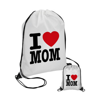 I LOVE MOM, Τσάντα πουγκί με μαύρα κορδόνια 45χ35cm (1 τεμάχιο)