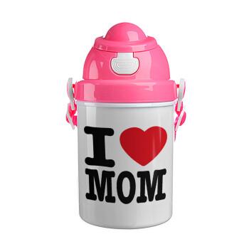 I LOVE MOM, Ροζ παιδικό παγούρι πλαστικό με καπάκι ασφαλείας, κορδόνι και καλαμάκι, 400ml