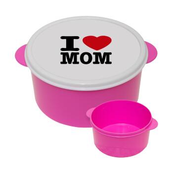 I LOVE MOM, ΡΟΖ παιδικό δοχείο φαγητού πλαστικό (BPA-FREE) Lunch Βox M16 x Π16 x Υ8cm
